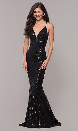 Sequin V-Neck Long Mermaid Prom Dress