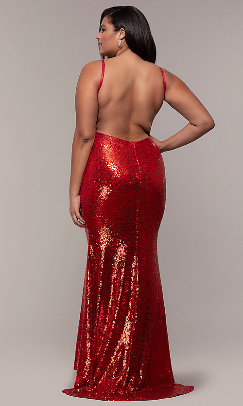 606d69c73c1 Long Sequin Plus-Size V-Neck Formal Open Back Dress