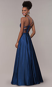 Image of illusion v-neck long prom dress with caged back. Style: NA-A180 Detail Image 7
