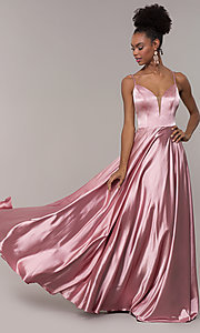 Image of illusion v-neck long prom dress with caged back. Style: NA-A180 Front Image