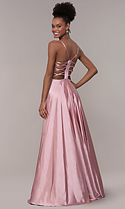 Image of illusion v-neck long prom dress with caged back. Style: NA-A180 Back Image