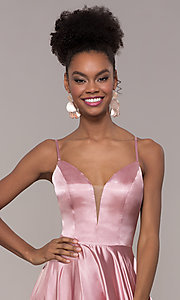 Image of illusion v-neck long prom dress with caged back. Style: NA-A180 Detail Image 1