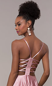 Image of illusion v-neck long prom dress with caged back. Style: NA-A180 Detail Image 2