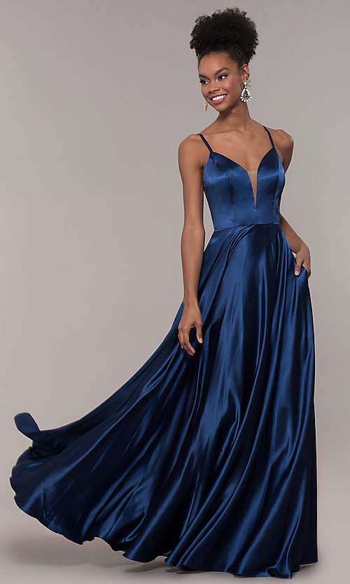 Image of illusion v-neck long prom dress with caged back. Style: NA-A180 Detail Image 6