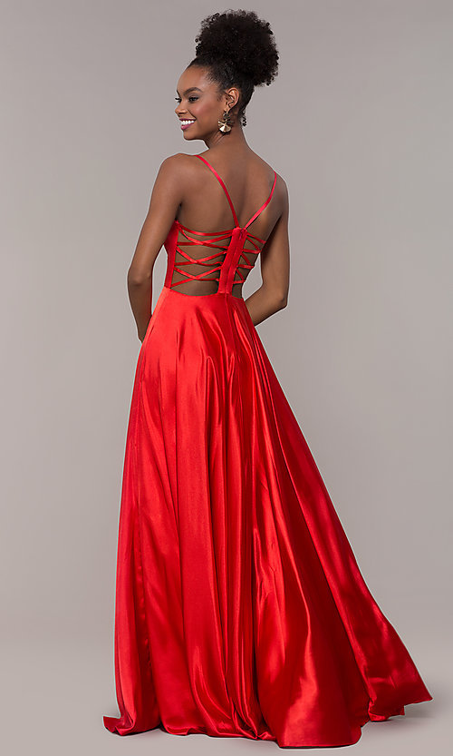 Image of illusion v-neck long prom dress with caged back. Style: NA-A180 Detail Image 4