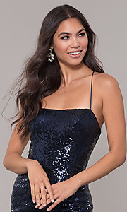 Image of sequin-mesh long square-neck corset formal dress. Style: NA-B207 Detail Image 1