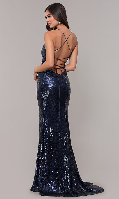 Image of sequin-mesh long square-neck corset formal dress. Style: NA-B207 Back Image