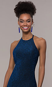 Image of long mermaid glitter prom dress with strappy back.  Style: NA-C208 Detail Image 1