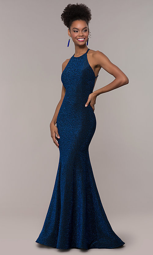 Image of long mermaid glitter prom dress with strappy back.  Style: NA-C208 Front Image