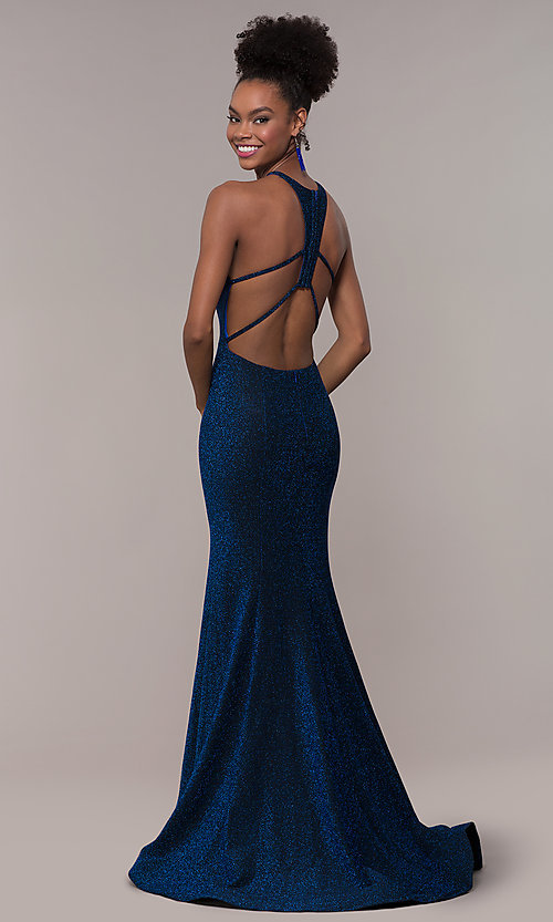 Image of long mermaid glitter prom dress with strappy back.  Style: NA-C208 Back Image