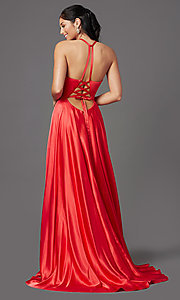 Image of long faux-wrap high-neck corset formal prom dress. Style: NA-C209 Back Image