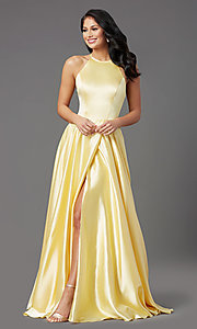 Image of long faux-wrap high-neck corset formal prom dress. Style: NA-C209 Detail Image 7