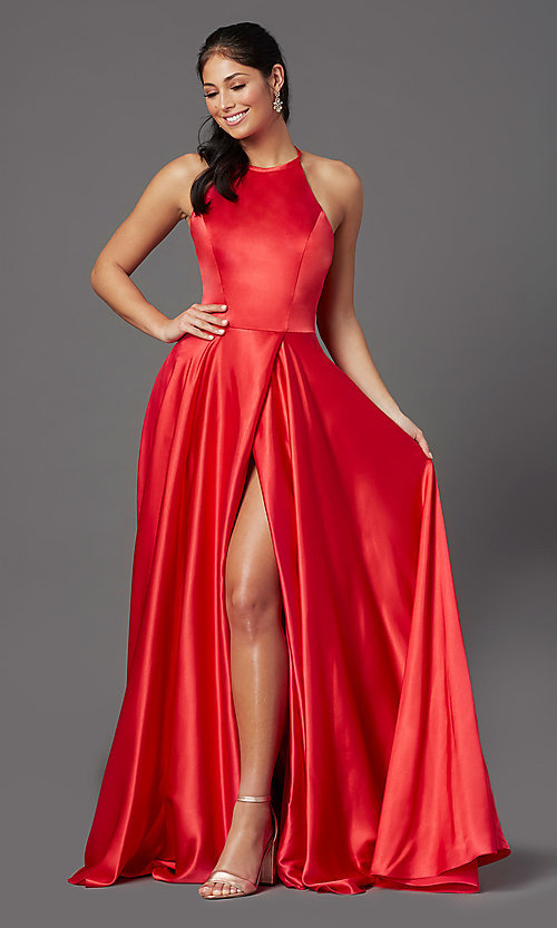 Image of long faux-wrap high-neck corset formal prom dress. Style: NA-C209 Front Image