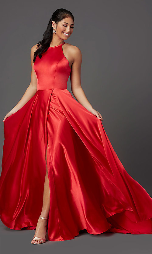 Image of long faux-wrap high-neck corset formal prom dress. Style: NA-C209 Detail Image 2