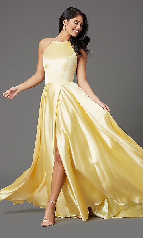 Image of long faux-wrap high-neck corset formal prom dress. Style: NA-C209 Detail Image 4