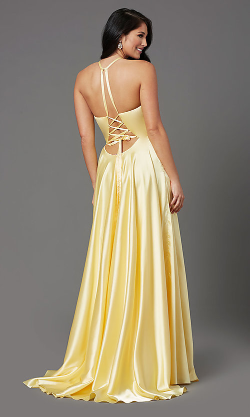Image of long faux-wrap high-neck corset formal prom dress. Style: NA-C209 Detail Image 5