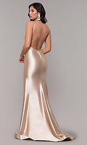 Image of empire-waist long vintage-style formal dress. Style: NA-C227 Detail Image 7