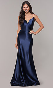 Image of empire-waist long vintage-style formal dress. Style: NA-C227 Detail Image 3