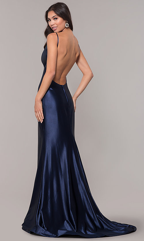Image of empire-waist long vintage-style formal dress. Style: NA-C227 Back Image