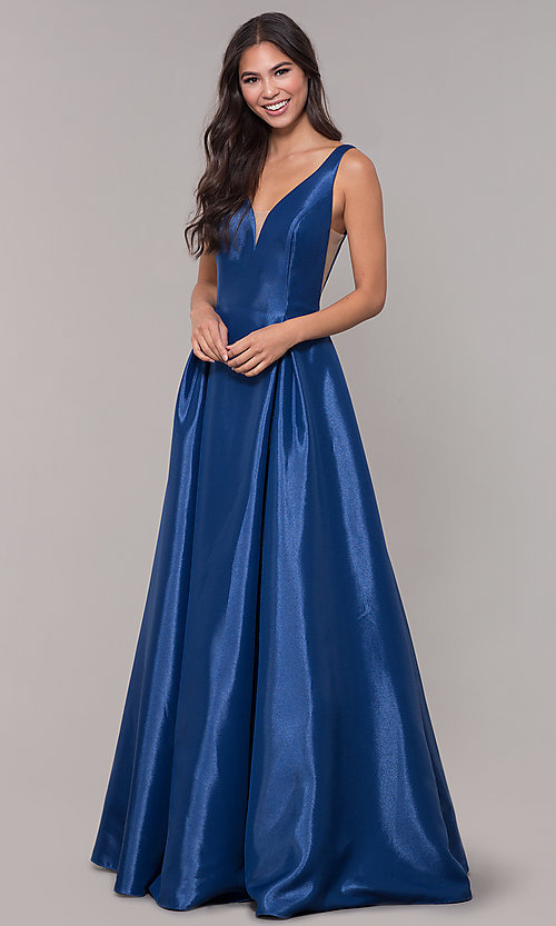 Image of v-neck long formal ball gown with open v-back. Style: NA-E156 Front Image
