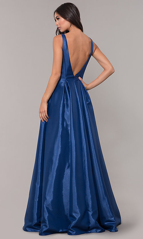 Image of v-neck long formal ball gown with open v-back. Style: NA-E156 Back Image