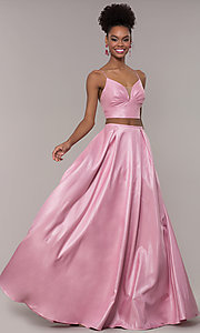 Image of ruched-top two-piece long prom dress in satin. Style: NA-E161 Front Image