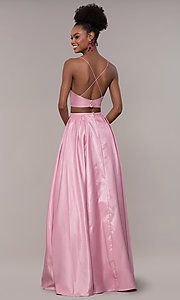 Image of ruched-top two-piece long prom dress in satin. Style: NA-E161 Back Image