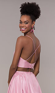 Image of ruched-top two-piece long prom dress in satin. Style: NA-E161 Detail Image 2