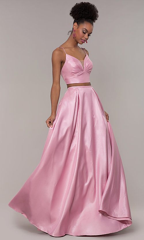 Image of ruched-top two-piece long prom dress in satin. Style: NA-E161 Detail Image 3