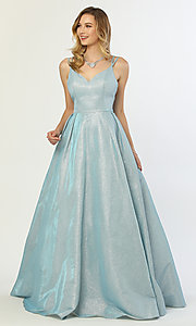 Image of iridescent-glitter long formal v-neck ball gown. Style: NA-E228 Detail Image 7