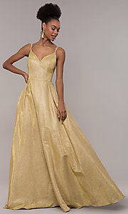 Image of iridescent-glitter long formal v-neck ball gown. Style: NA-E228 Detail Image 2