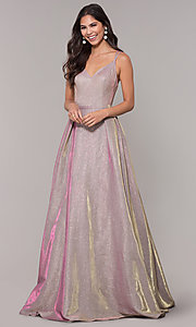 Image of iridescent-glitter long formal v-neck ball gown. Style: NA-E228 Front Image