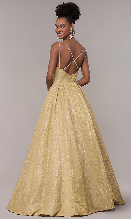Image of iridescent-glitter long formal v-neck ball gown. Style: NA-E228 Detail Image 3