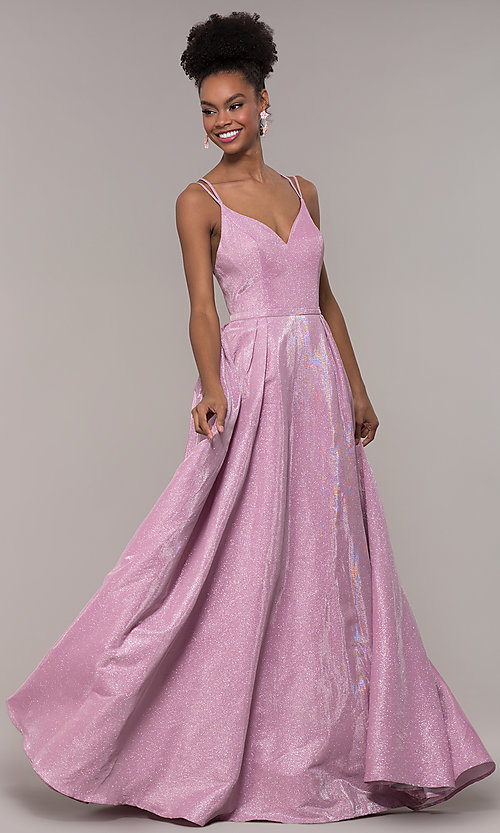 Image of iridescent-glitter long formal v-neck ball gown. Style: NA-E228 Detail Image 6