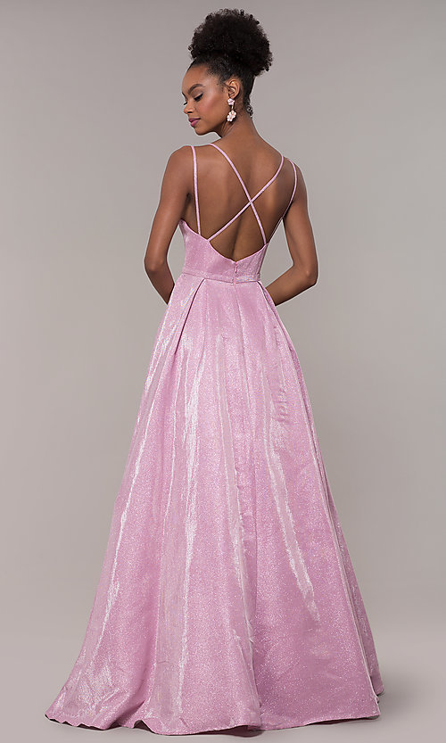 Image of iridescent-glitter long formal v-neck ball gown. Style: NA-E228 Detail Image 5