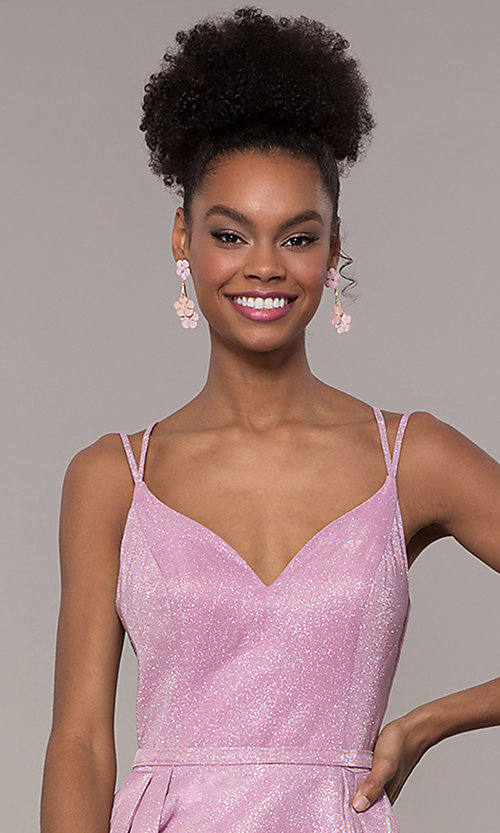 Image of iridescent-glitter long formal v-neck ball gown. Style: NA-E228 Detail Image 1