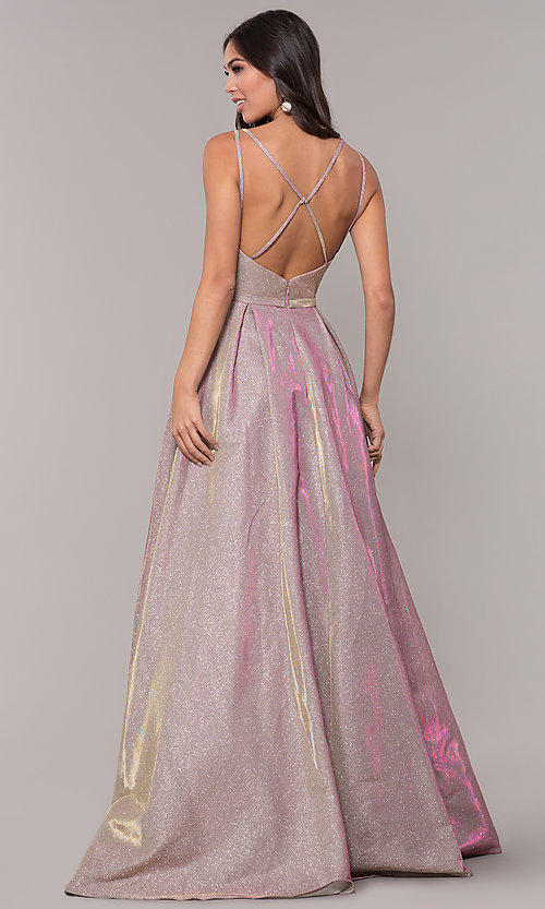 Image of iridescent-glitter long formal v-neck ball gown. Style: NA-E228 Back Image