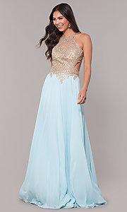 Image of embroidered-mesh-bodice long chiffon prom dress. Style: NA-S202 Front Image