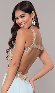 Image of embroidered-mesh-bodice long chiffon prom dress. Style: NA-S202 Detail Image 2
