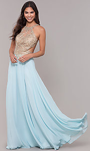 Image of embroidered-mesh-bodice long chiffon prom dress. Style: NA-S202 Detail Image 3