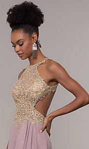 Image of embroidered-mesh-bodice long chiffon prom dress. Style: NA-S202 Detail Image 6