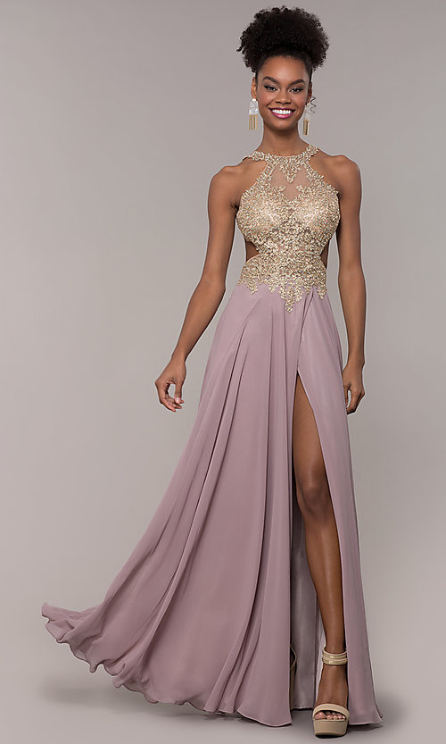 Image of embroidered-mesh-bodice long chiffon prom dress. Style: NA-S202 Detail Image 4