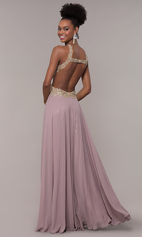 Image of embroidered-mesh-bodice long chiffon prom dress. Style: NA-S202 Detail Image 5