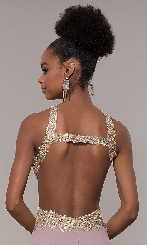 Image of embroidered-mesh-bodice long chiffon prom dress. Style: NA-S202 Detail Image 7
