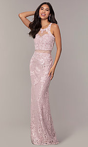 Image of long illusion-sweetheart mauve lace formal dress. Style: SOI-PL-D18608 Front Image