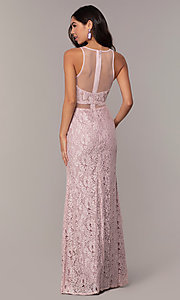 Image of long illusion-sweetheart mauve lace formal dress. Style: SOI-PL-D18608 Back Image