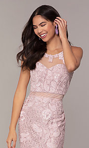Image of long illusion-sweetheart mauve lace formal dress. Style: SOI-PL-D18608 Detail Image 1