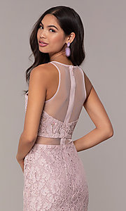 Image of long illusion-sweetheart mauve lace formal dress. Style: SOI-PL-D18608 Detail Image 2
