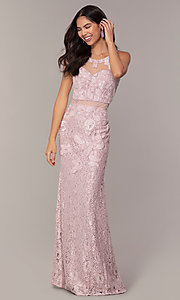 Image of long illusion-sweetheart mauve lace formal dress. Style: SOI-PL-D18608 Detail Image 3