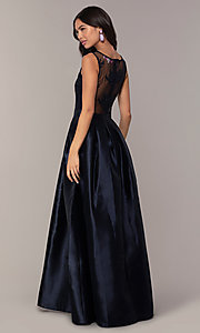 Image of lace-bodice long navy blue taffeta formal dress. Style: SOI-PL-D18607 Back Image